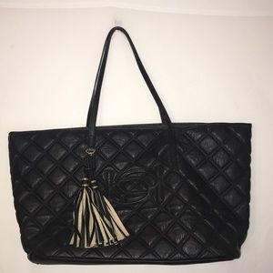 Bebe Black Quilted Tote Fabulous Condition